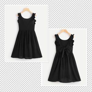 Dresses - Light weight A Line Sleeveless Ruffle Trim Dress